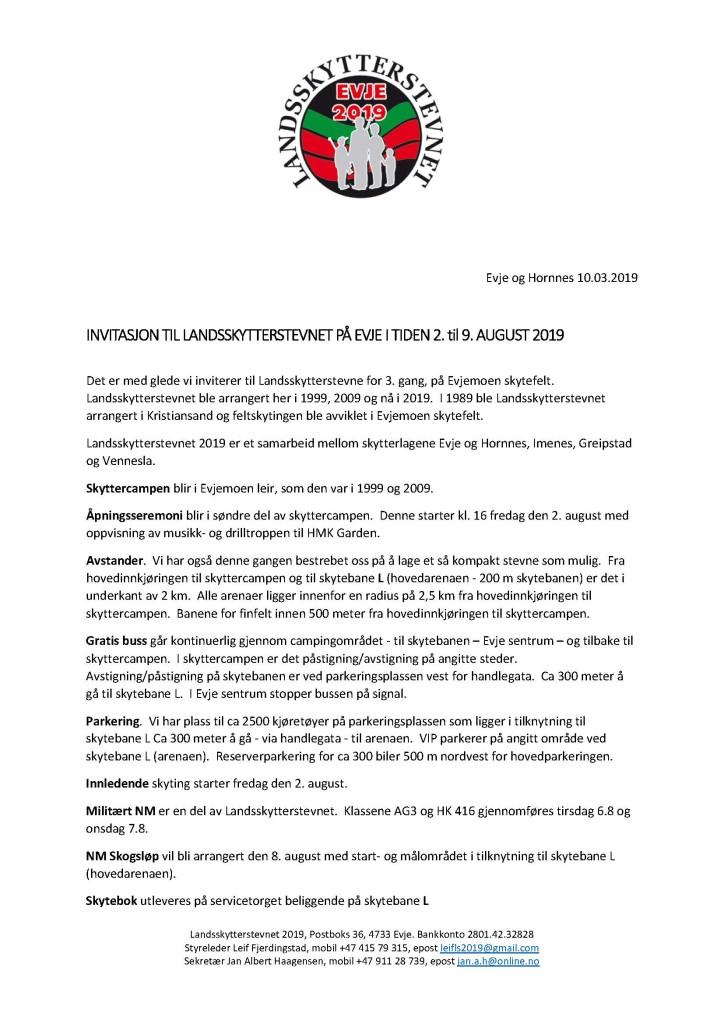 Invitasjon til Landsskytterstevnet 2019 Evje_Page_1
