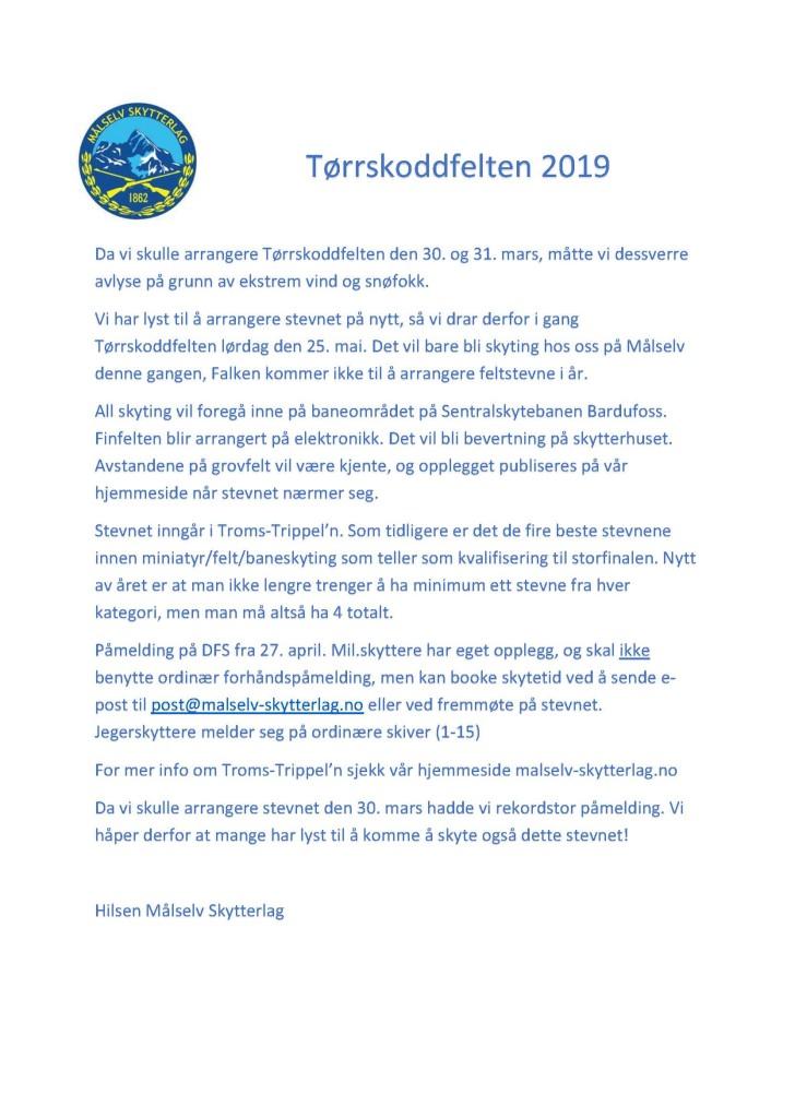 Innbydelse Tørrskoddfelten 2 2019 Målselv