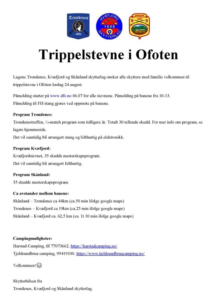 Innbydelse til trippelstevne Trondenes, Kvæfjord og skånland - aug 2019